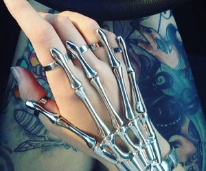 hand, tattoo, and skeleton image