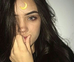 girl, tumblr, and moon image