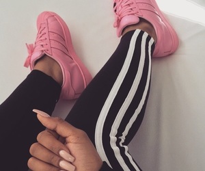 adidas, pink, and nails image