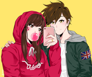 rin, d.va, and overwatch image