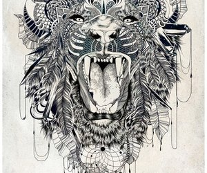 lion, art, and tattoo image