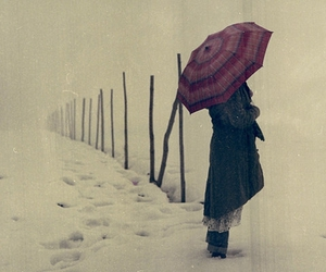 snow, girl, and umbrella image