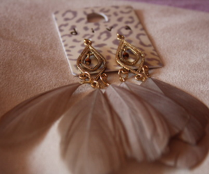 fashion, earrings, and feather image
