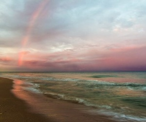 sky, beach, and rainbow image