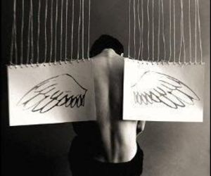 boy, wings, and angel image