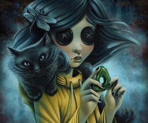 coraline, cat, and art image