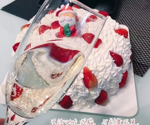 cake, strawberry, and shampagne image