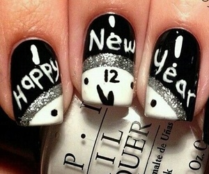 nails, new year, and black image