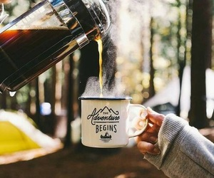 coffee, adventure, and camping image