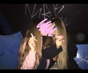 cigarrete, girls, and kiss image