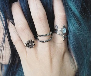 blue, girl, and rings image