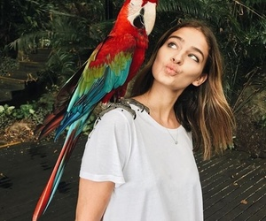 girl, parrot, and animal image