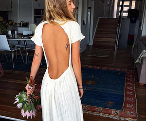 backless, white dress, and style image