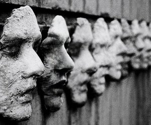 faces, mask, and black and white image