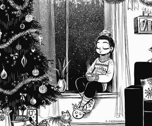 art, christmas, and b&w image