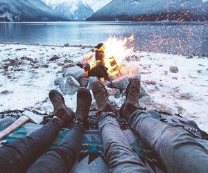 bonfire, mountains, and ice image