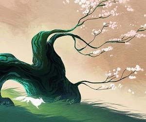 art, fox, and sakura image