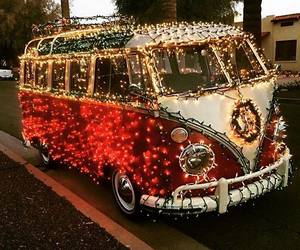lights, car, and christmas image