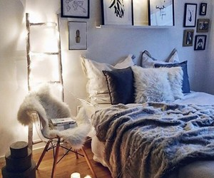 bed, candles, and lights image
