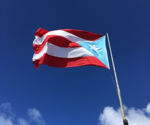 blue, clouds, and flag image