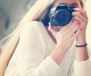 girl, blonde, and camera image