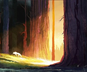 wolf, forest, and traveler image