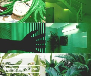 aesthetic, anime, and green image