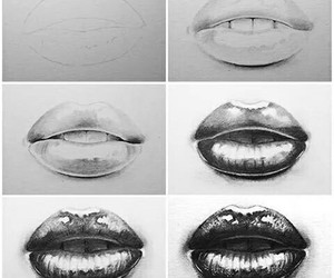 draw, lips, and art image