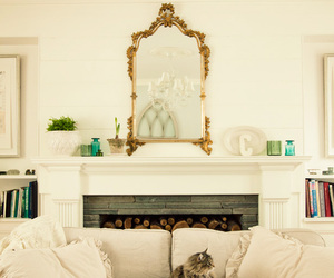 bright, cat, and fireplace image
