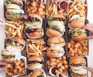 burger, fries, and junk image