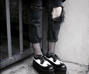 black, goth, and cool image