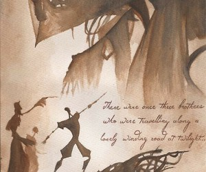 deathly hallows, three brothers, and the elder wand image