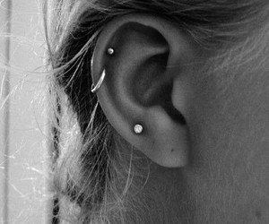 b&w, piercing, and helix image