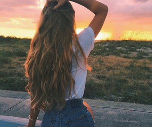 hair, girl, and sunset image