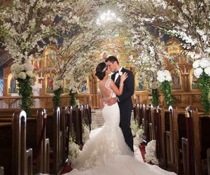 bride and groom, church, and couple image