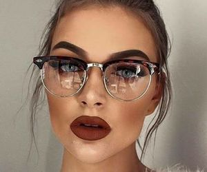 makeup, beauty, and glasses image