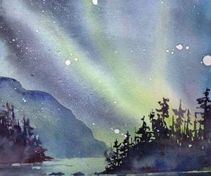 art, northern lights, and watercolor image