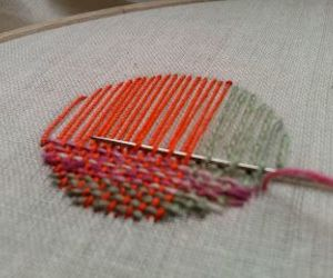 embroidery, green, and orange image