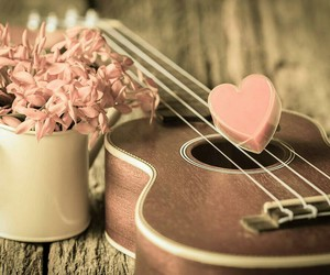 guitar, vintage, and flowers image