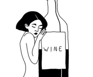 wine, girl, and black and white image