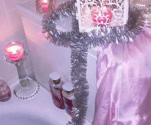 bath, candle light, and christmas image