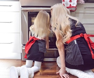 blonde, cooking, and daughter image