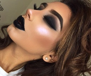 black lipstick, highlight, and makeup image