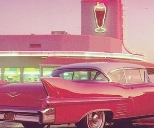 50's, milkshake, and car image