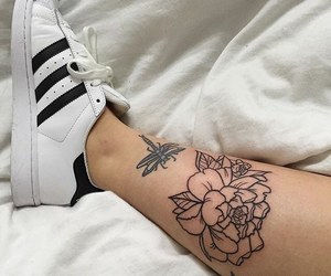 tattoo, adidas, and flower image