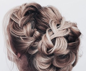 bun, hairstyle, and blonde image