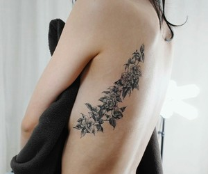 black, ink, and flower image