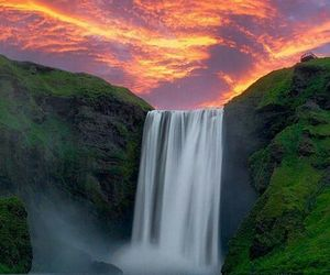 waterfall and sunset image
