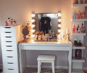 girls, interior, and make up table image