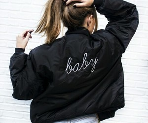 baby, jacket, and black image